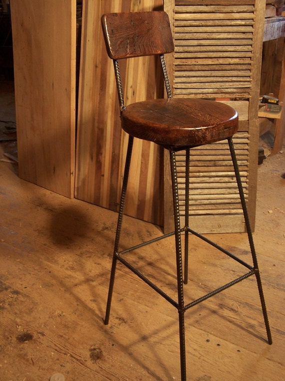 Reclaimed Oak Bar Stools with Metal Legs and Back Rest : il570xN510489126j93j from www.etsy.com size 570 x 760 jpeg 125kB