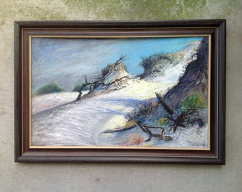 Wild Beach Dunes Framed Original Oil Pastel