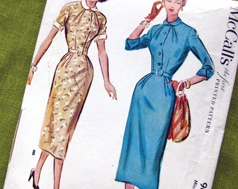1953 Vintage Sewing Pattern - One Piece Wiggle Dress - Lightly Pleated Bodice and Skirt - Rockabilly Style - McCall's 9635 / Size 12