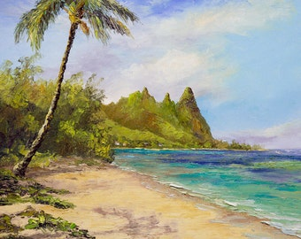 KAUAI BEACH HAWAII Framed Original Oil Painting Art North Shore Tropical Ocean Surf Sea Sun Tunnels Sand Palm Tree Relax Wedding Bali Hai