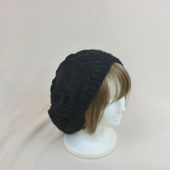 Baggy Hat Knitting Pattern : Slouchy Black Hat Lace Baggy Beanie Knit Tam Hat Beret