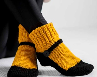 Knit Slipper Sock Adult Mary Jane Slippers Sox Goldenrod Yellow House Slippers Womens Slippers Home Slippers Black House Shoes Home Shoes
