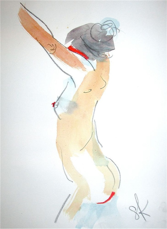 Nude painting- One minute pose 74.5  by Gretchen Kelly