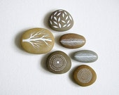 Air and Earth 4 - Collection of 6 Painted Stones with Nature Inspired Designs - by Natasha Newton