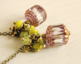 chartreuse cluster earrings, lavender cluster dangles, drop earrings, czech glass