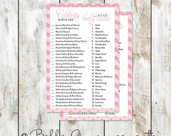Celebrity Baby Shower Game in Pink Chevron Instant Download- Baby Shower Printable