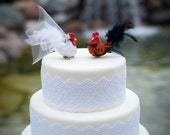 Barnyard Chicken Wedding Cake Topper: Unique, Farm Fancy Bride and Groom Love Bird Cake Topper -- LoveNesting Cake Toppers