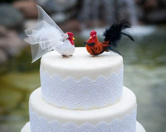 Barnyard Chicken Wedding Cake Topper: Farm Fancy Bride & Groom Love Bird Cake Topper -- LoveNesting Cake Toppers