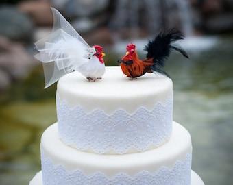 Christmas in July SALE! Barnyard Chicken Wedding Cake Topper: Farm Fancy Bride & Groom Love Bird Cake Topper -- LoveNesting Cake Toppers