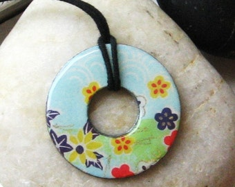 Lovely Pale Blue Flower Collage Upcycled Origami Paper Washer Pendant Necklace Unique Gift
