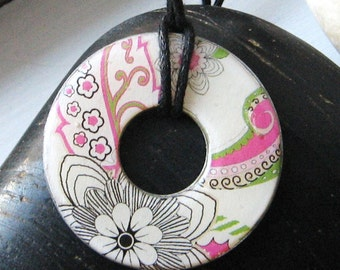 Stunning Doodle Art Pink and Black Floral Collage Designer Washer Hardware Pendant Necklace