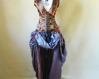 PRE-HOLIDAY SALE-Steampunk Aviator/Viking corset, ready to ship-to fit natural 31-34 inch waist