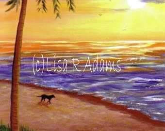 Tropical Sunset Beach Note Cards Creationarts Free Shipping