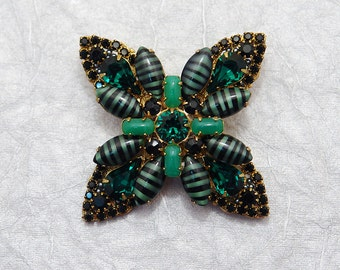 Burton-esque Brooch in Green & Black - Swarovski and art glass - Stripes, Jade, Jet, and Emerald