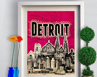 Print Detroit Poster  Birthday Gift art print Cityscape city skyline print Detroit map canvas Wall Decor typography print