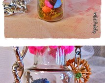 SALE El CaMpEsiNo VaGaBuNdO miniature Worry doll diorama/terrarium  glass vial necklace with neon stones and real moss by WiLd PeArLy