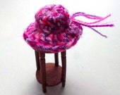 Magenta Lavender Fuschia Miniature Dollhouse Crocheted Hat One Inch Scale