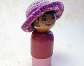 Plum Mauve Miniature Dollhouse Crocheted Hat One Inch Scale