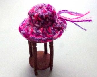 Magenta Lavender Fuschia Miniature Dollhouse Crocheted Hat One Inch Scale