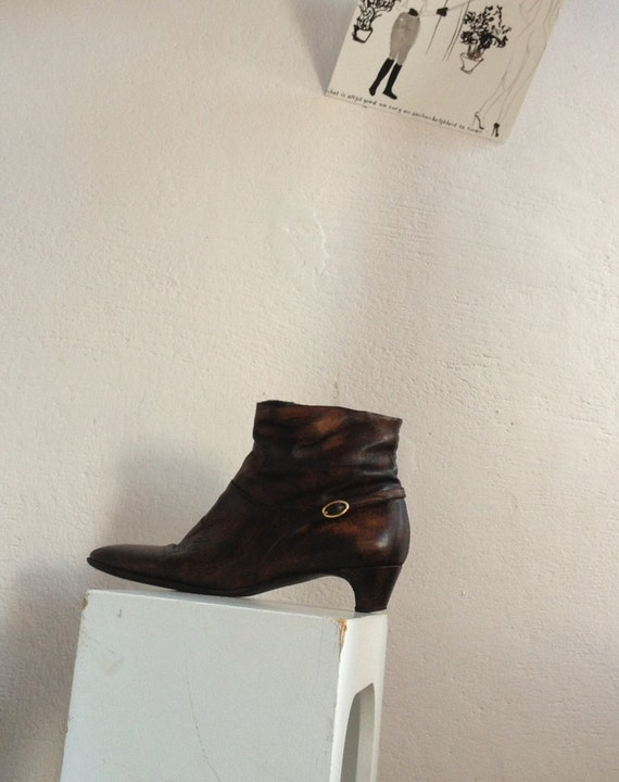 Hugo BOSS vintage upcycled ankle booties little boots brown made in Italy size 37 horse riding look