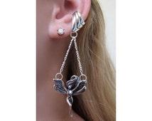 Fairy Ear Cuff Silver - Dancing Fairy Ear Cuff Chevron - Fair Earring Fairy Jewelry Fairy Ear Wrap Silver Fairy Non Pierced Earring Ear Cuff