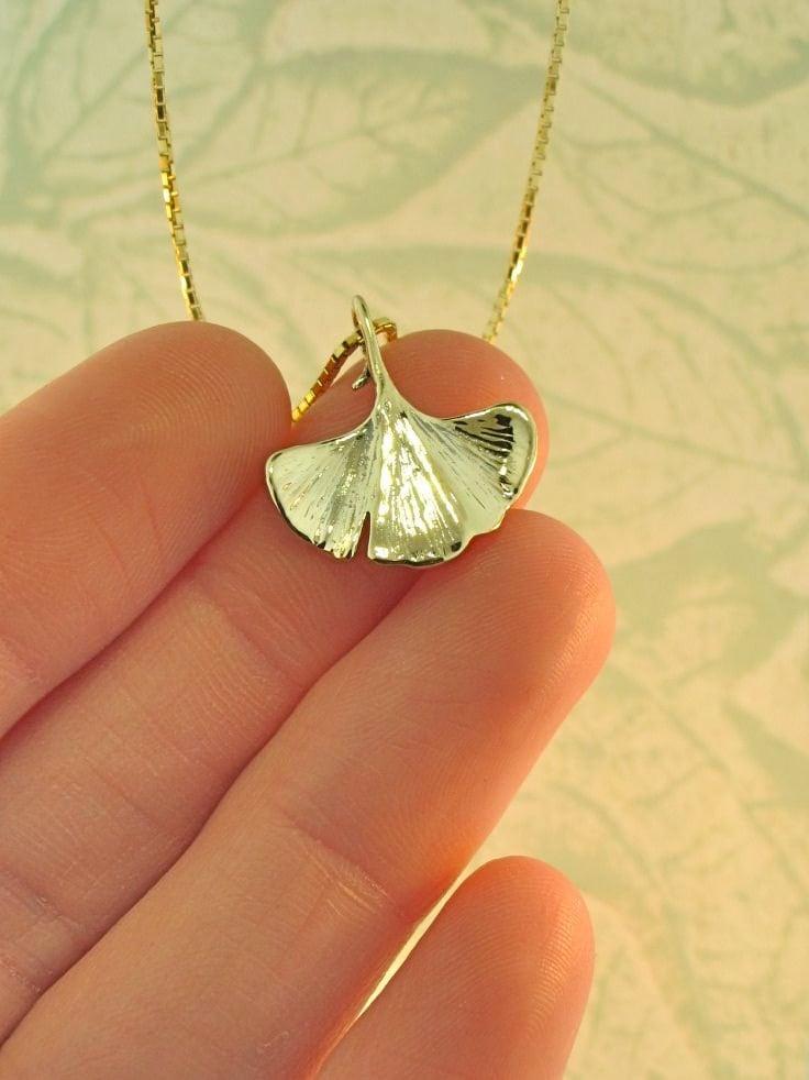 Gold Leaf Necklace 14k Gold Ginkgo Leaf Charm Leaf Pendant