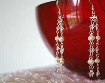 pearl swarovski crystal and sterling silver bridal waterfall earrings