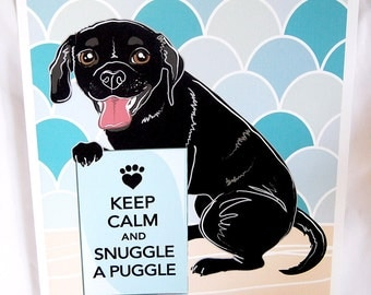 Keep Calm Black Puggle with Blue-Gray Scaled Background - 8x10 Eco-friendly Print