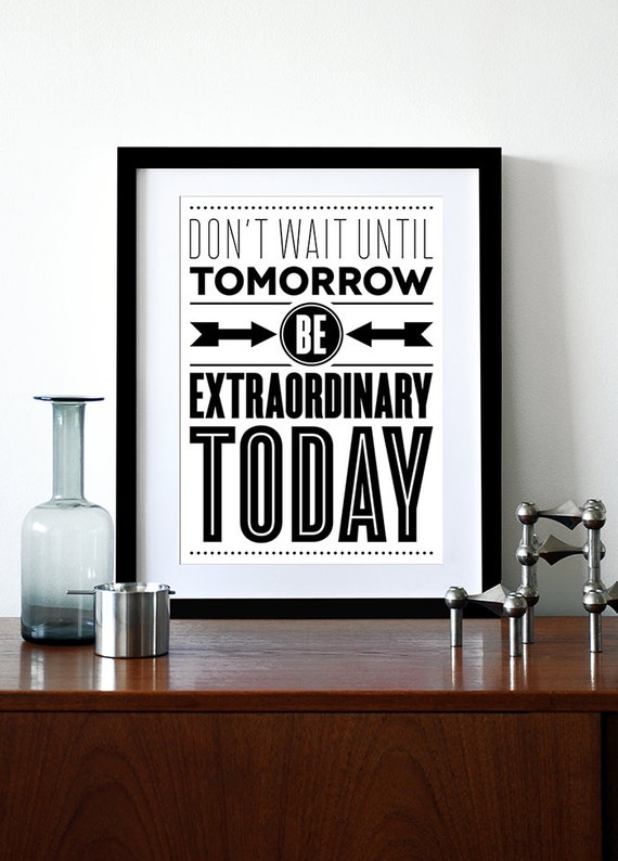 Typography poster, retro poster, mid century modern, kitchen art, office art, graphic design, inspirational quote - Today A3