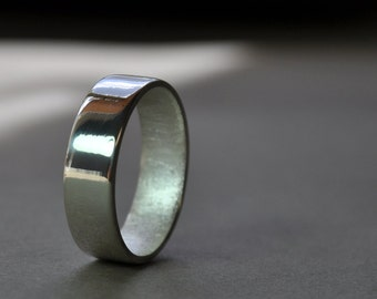Men's Wedding Ring. High Shine Wide Flat Band. 6mm. Custom Size. Modern Contemporary Jewelry. Handmade