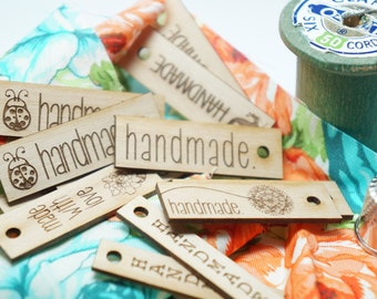 """Wooden hang tags """"handmade """" assorted styles Set of  10"""