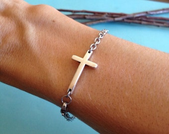 Pretty Sideways Cross Bracelet with an Elegant Stainless Steel Chain and Clasp- Confirmation- Baptism- Bridesmaids- Profession of Faith