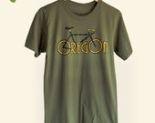 Oregon Bike Men's t-shirt,  Olive Green Bike Oregon tee, Original Mens graphic tee, Gift for Him