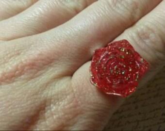 Red glitter resin rose ring