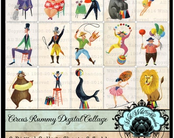 Circus Digital Collage Sheets, Vintage Rummy Circus Art Images, or Illustrations for Mixed Media or Collage