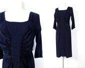 Vintage 40s Dress / Ruched Dress / 1940s Dress / Navy Blue Dress / 1940s Blue Dress / M L