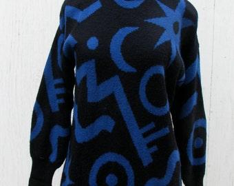 80s Geo Print Sweater Mini Dress // New Wave