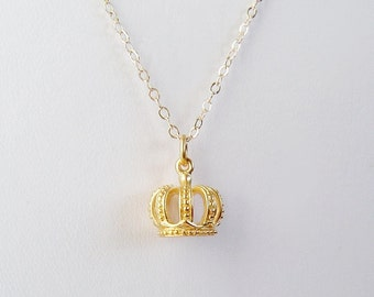 Gold Crown Necklace, 24K Gold over Bronze, 14K Gold fill Chain, Princess, Queen B, Mothers, Gift