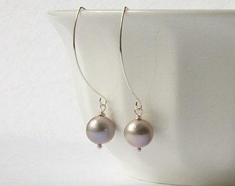 Gray Freshwater Pearl Dangle Earrings, Gray pearl Earrings