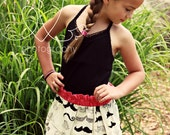 Customizable Mustache print cotton skirt - black and white - mustache skirt for infant, toddler, and girls - CUSTOMIZABLE