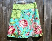 Women's skirt with a pocket, Cottage Garden Skirt, Teal Pink Green Skirt, Amy Butler Skirt, A-line Skirt, size 2 - 22 women's