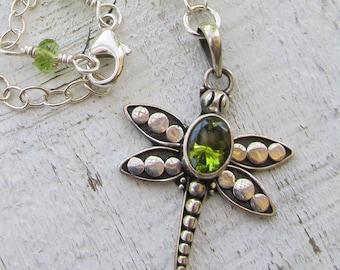 Dragonfly Spirit Animal Totem Green Peridot August Birthstone Gemstone Necklace