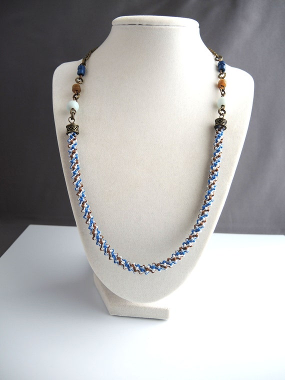Spiral Micro Macrame Necklace With Glass Bead Accents in Brown, White and Blue