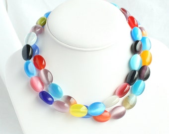 2 Satin Glass Chokers Multicolor Lot of 2 Vintage Bead Chokers or Wear Together as Long Colorful Necklace
