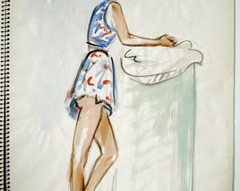 Original Watercolor Fashion Painted Drawing, Paris, 1948 by Artist André Grill