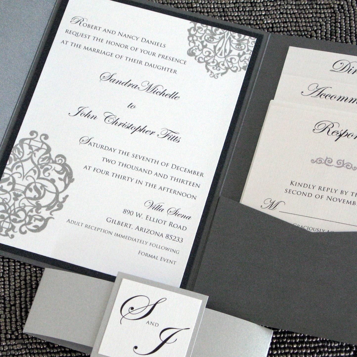 Silver Wedding Invitations: Metallic Pocketfold Wedding Invitation Black And SIlver