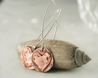 Heart Dangle Earrings - Copper and Silver Earrings - Heart Jewelry - Love Jewelry - Girlfriend Gift - Copper Anniversary - Gift For Wife