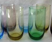 Blue Amethsyt Green Amber Glass Tumbler Roly Poly Highball Swanky Swig Retro Heavy Bottomed DDB7