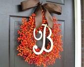 Fall Berry Monogram Wreath- Fall Wreath- Berry Wreath- Wedding Wreath- WEATHERPROOF Berries - ElegantWreath