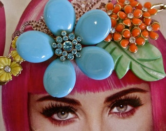 I Dream in Color: Flower Necklace Choker Vintage Assemblage Headpiece Hippie Festival Neon Floral Bright Turquoise Orange Mint Green Yellow
